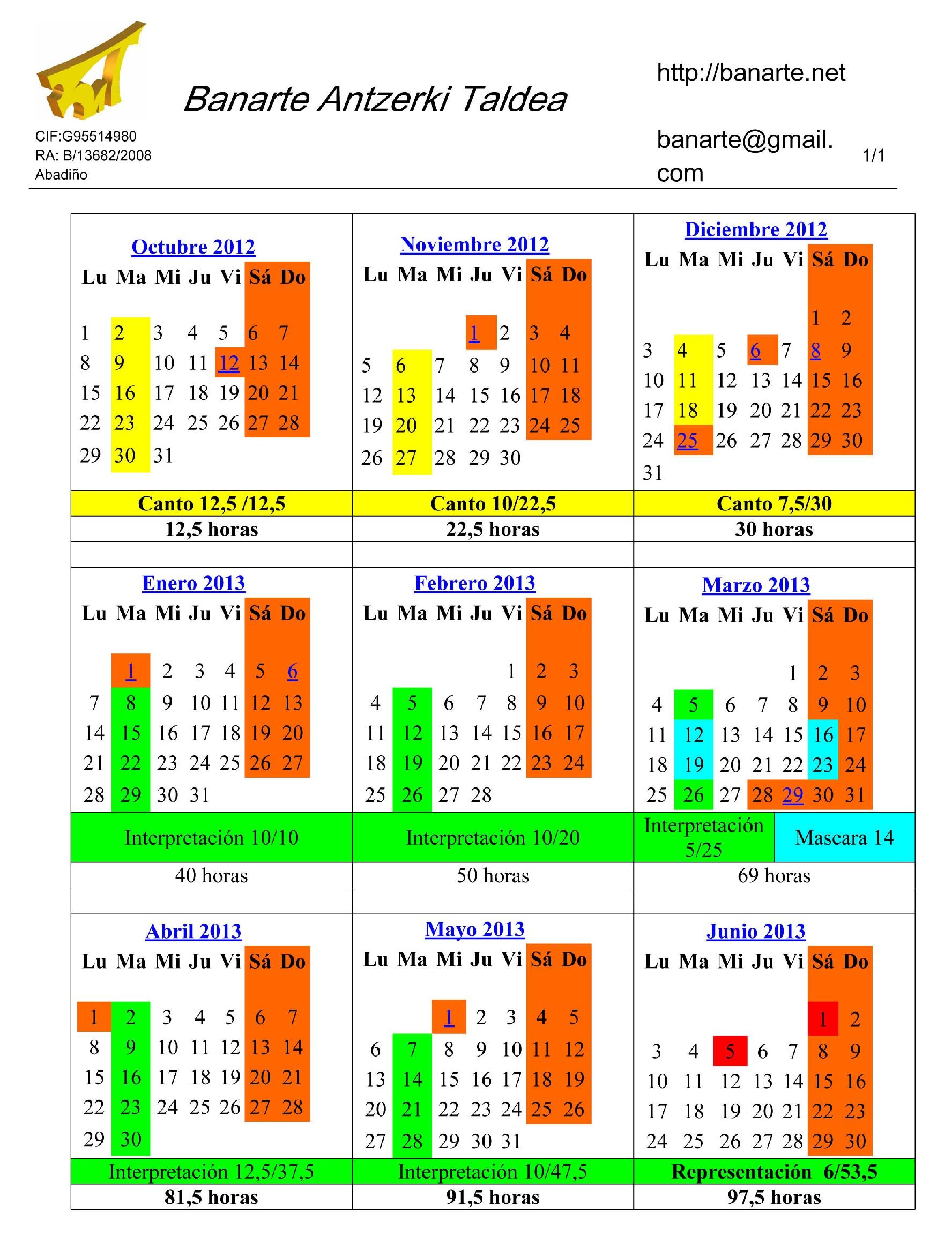 Calendario taller